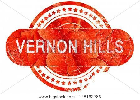 vernon hills, vintage old stamp with rough lines and edges