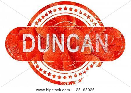 duncan, vintage old stamp with rough lines and edges