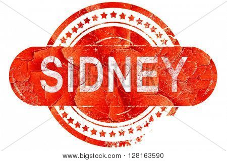 sidney, vintage old stamp with rough lines and edges