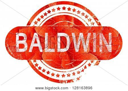 baldwin, vintage old stamp with rough lines and edges