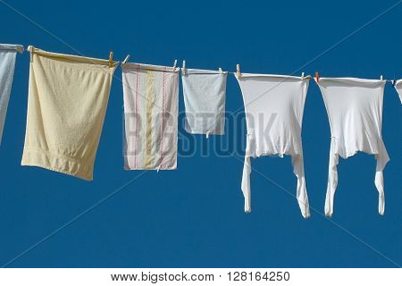 Clothes drying on the laundry line