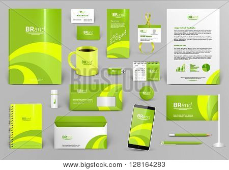Lime luxury branding design kit. Identity template for hotel, shop or ecological  technology. Business stationery mock-up. Editable vector illustration: folder, envelope, cup, card, etc.