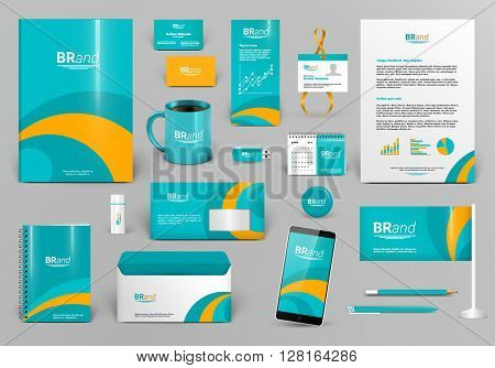Green branding design kit. Corporate identity template for hotel, shop, entertainment. Business stationery mock-up. Editable vector illustration: folder, envelope, cup, card, etc.