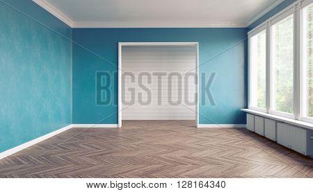 Empty blue  interior. 3D interior rendering