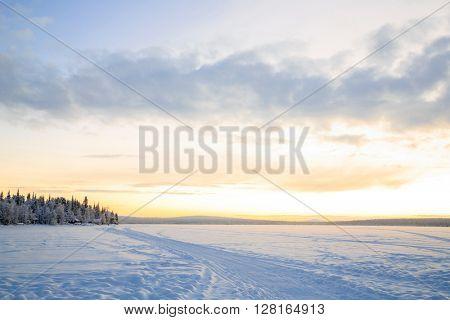 Sunrise Winter landscape at Kiruna Sweden lapland