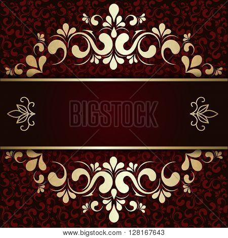 Burgundy pattern with gold lace ornament background