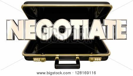 Negotiate 3d Word Briefcase Sale Deal Agreement Terms poster