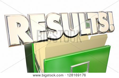 Results Output Test Evaluation Answers Report File Cabinet 3d Illustration Word