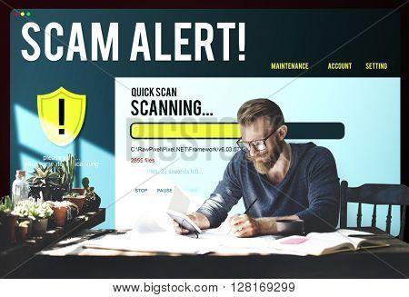 Online Technology Homepage Website Scam Alert Concept