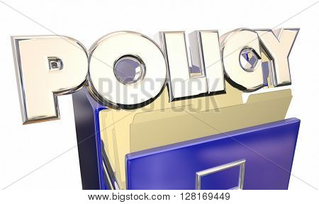 Policy 3d Word Filing Cabinet Official Rules Regulations Policies poster