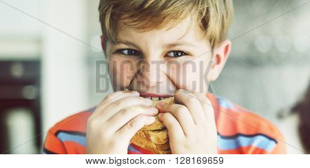 Boy Child Kid Bread Sandwich Starving Eating Concept