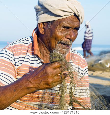 Indian Fisherman Kerela India Fishery Gulf Man Concept