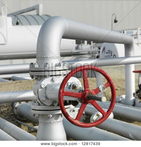 Wheel on industrial piping