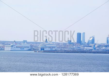 Tallin, Estonia - April, 6, 2016: view of Tallin harbour, Estonia