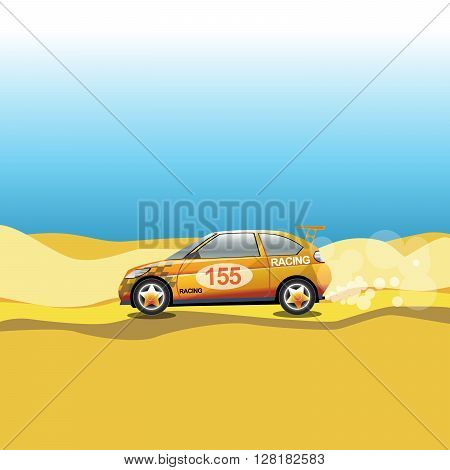 Rally in a desert. Racing car safari trip. Sport car driving on a sandy road. Blue sky and yellow sand. Digital vector illustration.