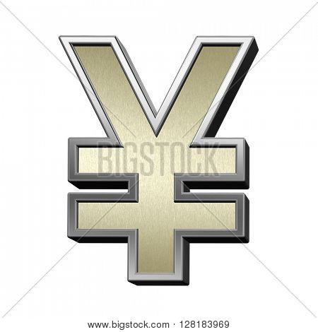 Yen sign from brushed gold with shiny silver frame alphabet set, isolated on white. 3D illustration.
