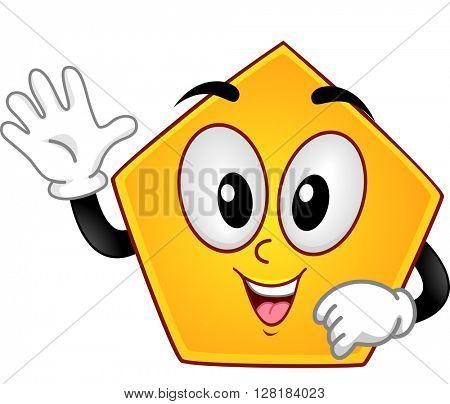 Mascot Illustration of a Pentagon Showing Five Fingers
