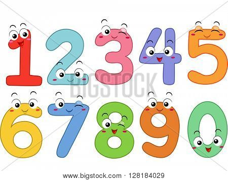 Mascot Illustration Featuring the Numbers 1 to 0