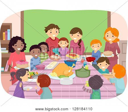 Stickman Illustration of Kids Having a Pot Luck Party