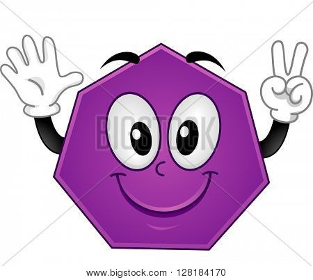 Mascot Illustration Featuring a Heptagon Showing Seven Fingers