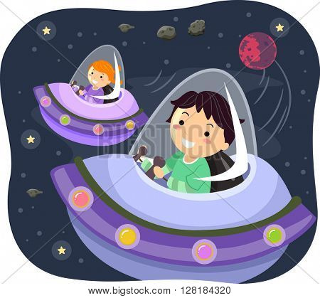 Stickman Illustration of Kids Driving Spacecrafts