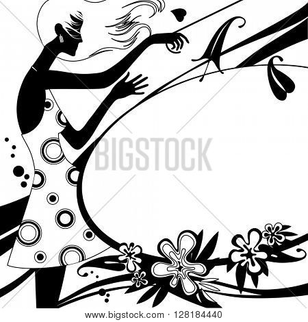 Fashion template page with silhouette of girl in black and white colors. Original design for 