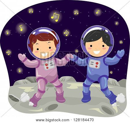 Stickman Illustration of Kids in Space Suits Dancing on the Moon