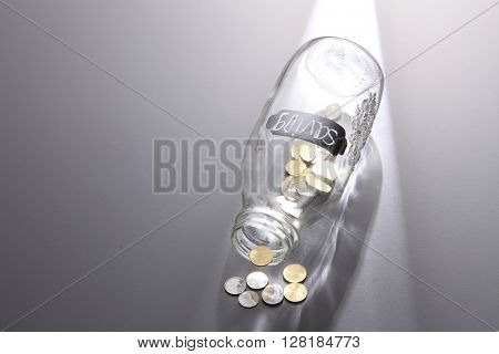 saving jar with coins on the gray background