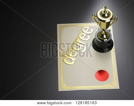 trophy rest on the degree certificate