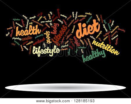 Concept or conceptual abstract health diet or sport word cloud or wordcloud on white background