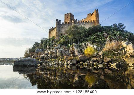 Almourol castle - impressive castle of templars. Portugal