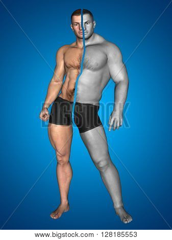 3D illustration of concept or conceptual strong young male man bodybuilder before and after on blue background