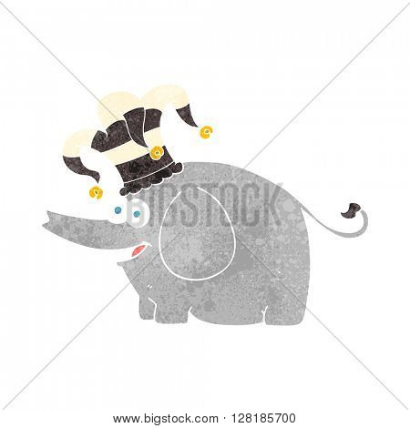 freehand retro cartoon elephant wearing circus hat