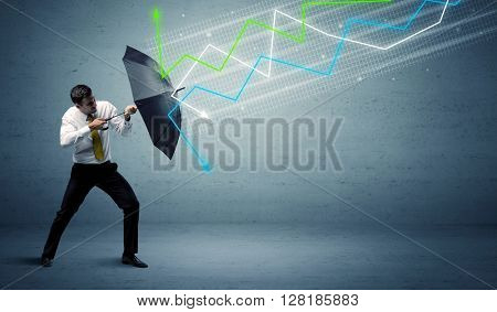 Business person with umbrella and colorful stock market arrows concept