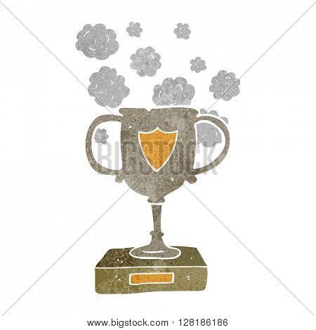 freehand retro cartoon old trophy