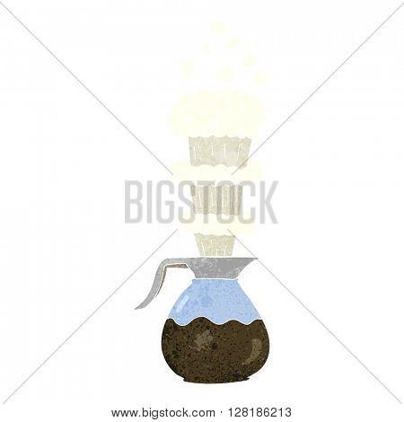freehand retro cartoon extra strong coffee jug
