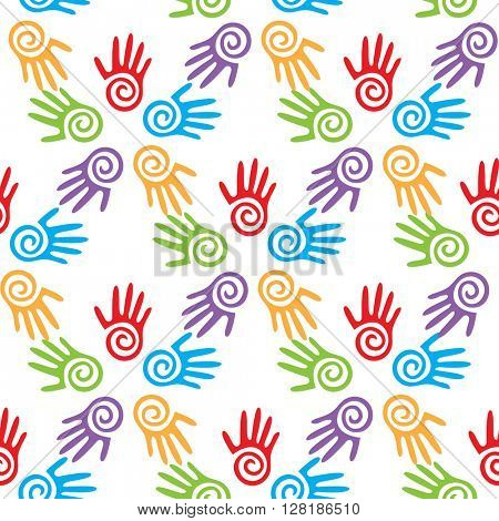 Bright adults and kid's hands, seamless background, vector illustration
