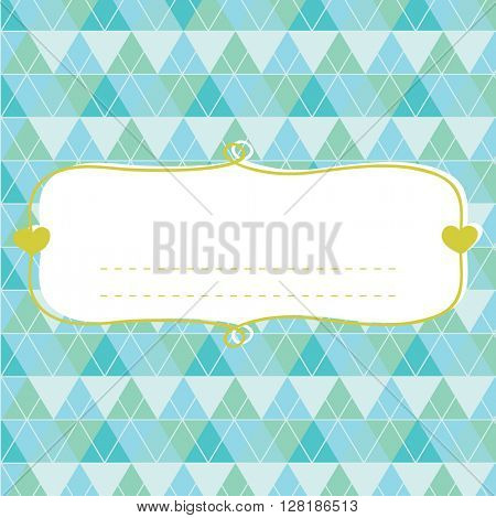 Baby shower card for boy, blue pastel tones, geometrical ornament with frame for your text