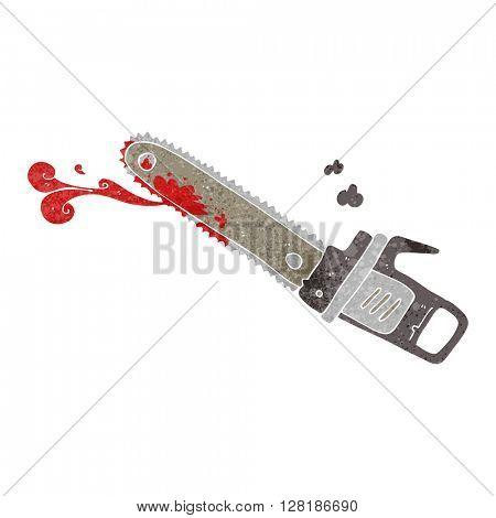 freehand retro cartoon bloody chainsaw