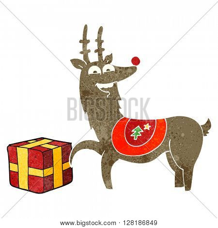 freehand retro cartoon christmas reindeer with present