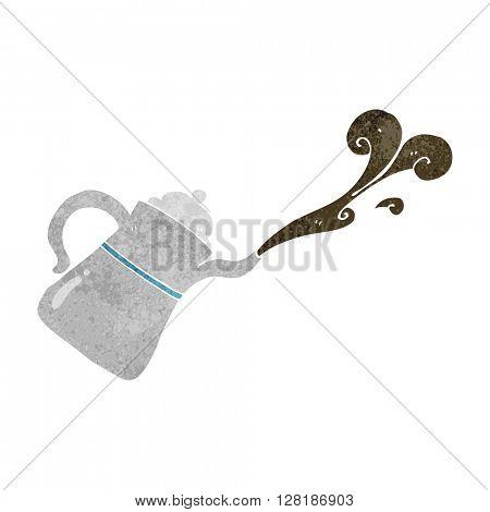 freehand retro cartoon coffee pot pouring