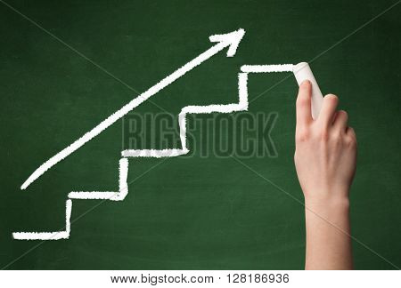 Stairs heading upwards with an arrow drawn by hand on a green chalkboard.