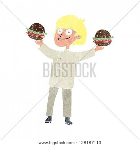 freehand retro cartoon chef with burgers