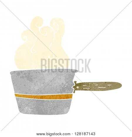 freehand retro cartoon saucepan cooking