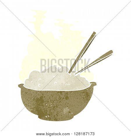 freehand retro cartoon bowl of hot rice