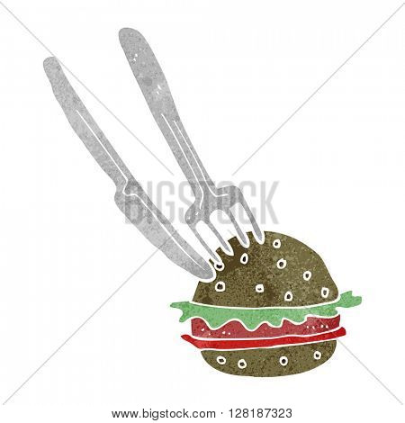 freehand retro cartoon knife and fork cutting burger