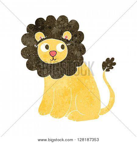 freehand retro cartoon cute lion