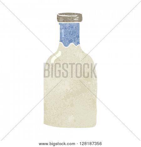 freehand retro cartoon milk bottle