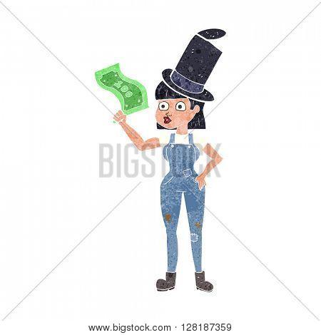 freehand retro cartoon woman holding on to money