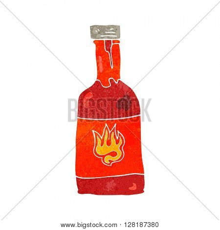 freehand retro cartoon chili sauce bottle